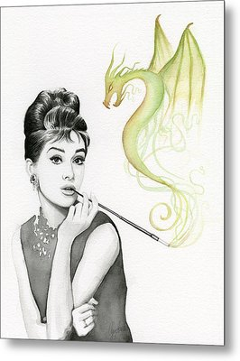 Audrey And Her Magic Dragon Metal Print