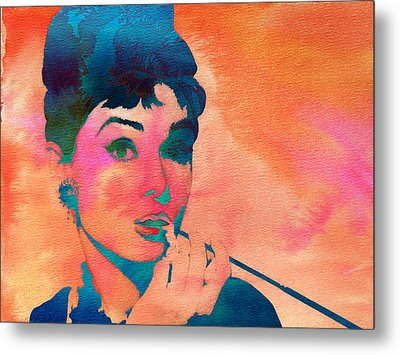 Metal Print featuring the painting Audrey Hepburn 1 by Brian Reaves