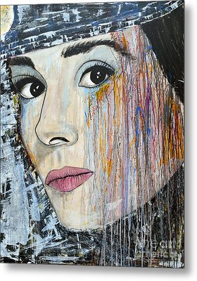 Audrey Hepburn-abstract Metal Print by Ismeta Gruenwald