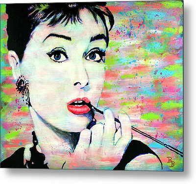 Audrey Hepburn Art Breakfast At Tiffany's Metal Print by Bob Baker