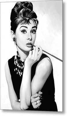 Audrey Hepburn Artwork Metal Print by Sheraz A