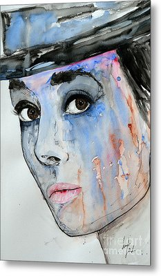 Metal Print featuring the painting Audrey Hepburn - Painting by Ismeta Gruenwald