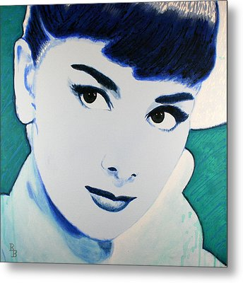 Audrey Hepburn Pop Art Painting Metal Print by Bob Baker