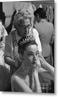 Audrey Hepburn Preparing For A Scene In Roman Holiday Metal Print by The Harrington Collection
