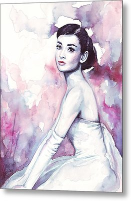 Audrey Hepburn Purple Watercolor Portrait Metal Print by Olga Shvartsur