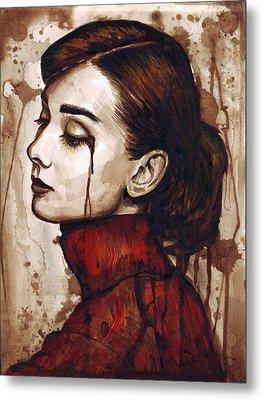 Audrey Hepburn - Quiet Sadness Metal Print