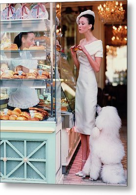 Audrey Marnay At A Patisserie With A Poodle Metal Print