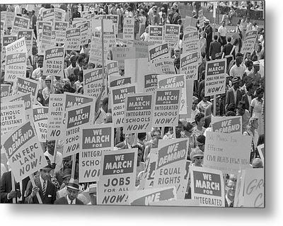 August 28, 1963 - Marchers With Signs Metal Print by Stocktrek Images