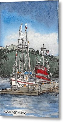 Metal Print featuring the mixed media Auke Bay  by Tim Oliver