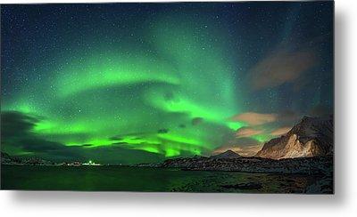 Aurora Borealis Above Ramberg, Lofoten Metal Print by Panoramic Images