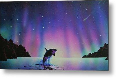 Aurora Borealis And Whale Metal Print