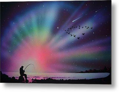 Aurora Borealis Gone Fishing Metal Print