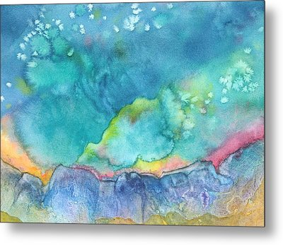Metal Print featuring the painting Aurora Borealis by Nancy Jolley