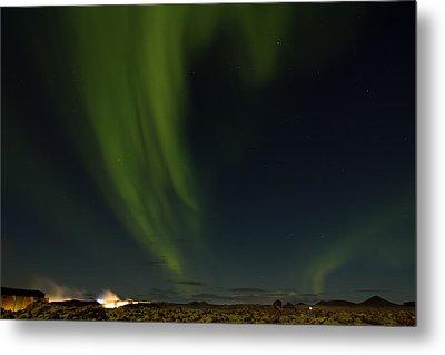 Aurora Borealis Over Iceland Metal Print
