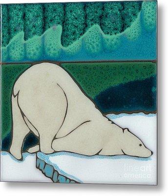 Aurora Borealis Polar Bear Metal Print by Elany  Prusa