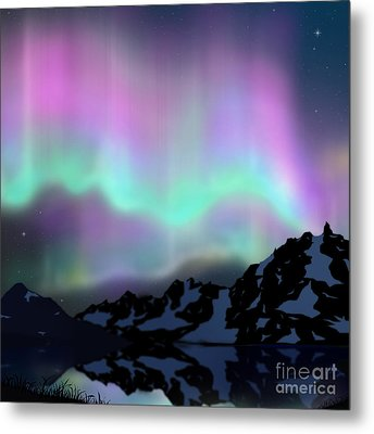 Aurora Over Lake Metal Print by Atiketta Sangasaeng