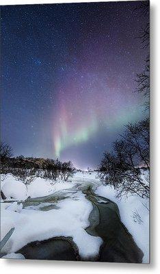 Auroras By The Creek Metal Print by Frank Olsen