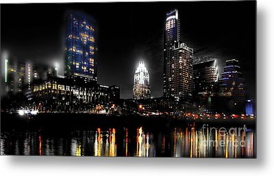 Austin Night Skyline Reflections  Metal Print by Gary Gibich
