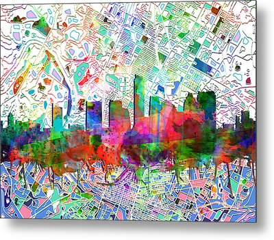 Austin Texas Abstract Panorama 7 Metal Print