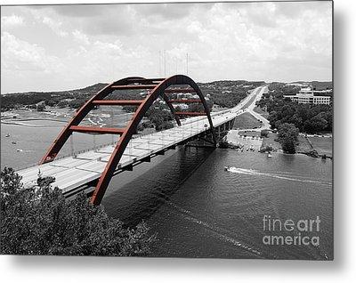 Austin Texas Pennybacker 360 Bridge Color Splash Black And White Metal Print