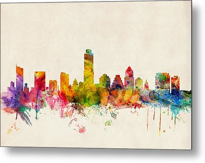 Austin Texas Skyline Metal Print by Michael Tompsett
