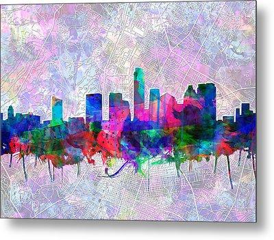 Austin Texas Skyline Watercolor 2 Metal Print
