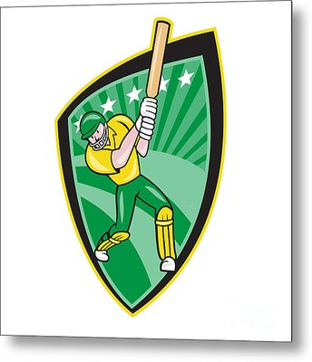 Australia Cricket Player Batsman Batting Shield Metal Print by Aloysius Patrimonio
