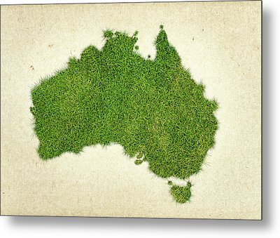 Australia Grass Map Metal Print by Aged Pixel