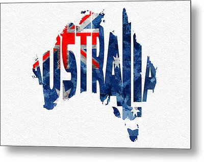 Australia Typographic World Map Metal Print by Ayse Deniz