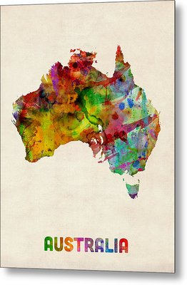 Australia Watercolor Map Metal Print by Michael Tompsett