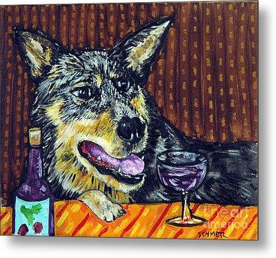 Australian Cattle Dog Art The Wine Bar Metal Print by Jay  Schmetz