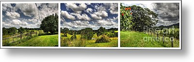 Australian Countryside - Floating Clouds Collage Metal Print by Kaye Menner