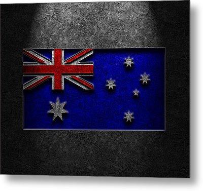 Metal Print featuring the digital art Australian Flag Stone Texture by Brian Carson