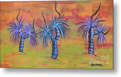 Metal Print featuring the painting Australian Grass Trees by Lyn Olsen