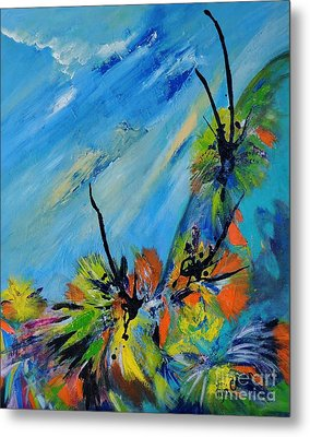 Metal Print featuring the painting Australian Grasstrees by Lyn Olsen