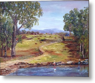 Australian Landscape Children Fishing Metal Print
