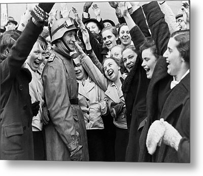 Austrians Cheer Panzer Driver Metal Print by Underwood Archives