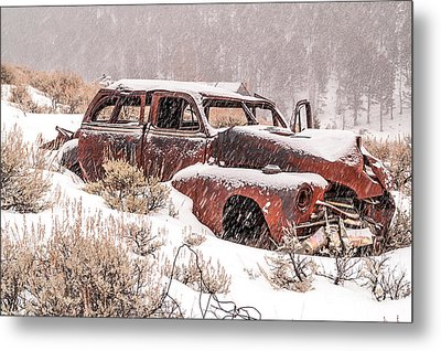 Auto In Snowstorm Metal Print
