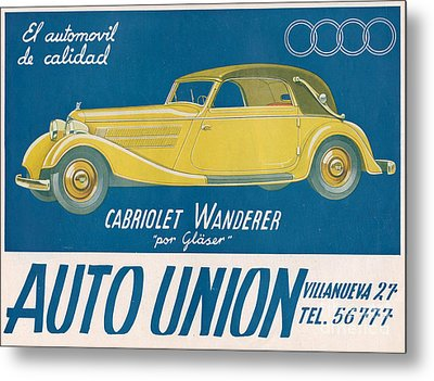 Auto Union Audi 1930s Usa Cc Cars Metal Print by The Advertising Archives