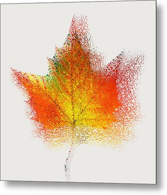 Autumn Abstract Colorful Orange Green Yellow Nature Fine Art Photograph Digital Painting Metal Print