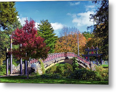 Autumn At Bradley Park Japanese Bridge 03 Metal Print