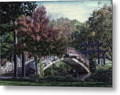 Autumn At Bradley Park Japanese Bridge Textured Metal Print