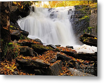 Autumn At Cattyman Falls Metal Print by Larry Ricker