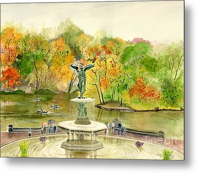 Autumn At Central Park Ny Metal Print