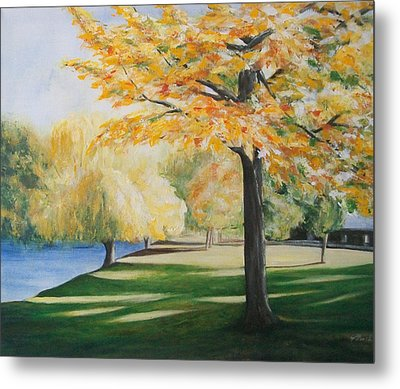 Metal Print featuring the painting Autumn At Lake Explanade by Jane  See