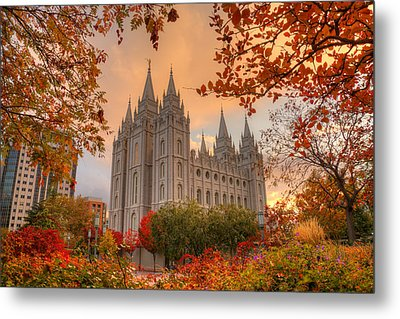 Autumn At Temple Square Metal Print by Dustin  LeFevre