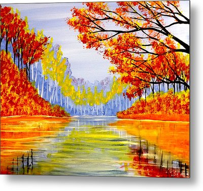 Autumn At The Lake Metal Print by Darren Robinson