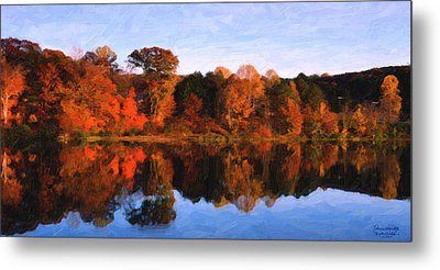 Autumn At The Lake Metal Print by Spyder Webb