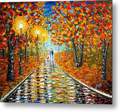 Autumn Beauty Original Palette Knife Painting Metal Print by Georgeta  Blanaru
