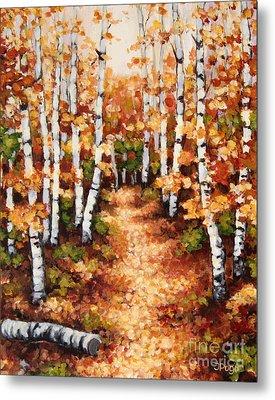 Autumn Birch Trail Metal Print by Inese Poga